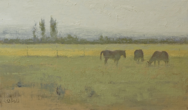 A painting of horses grazing in a field