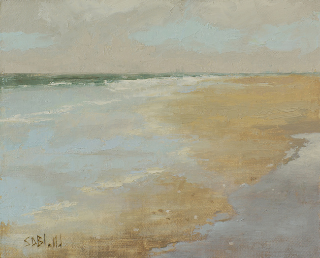 A small painting of a sandy beach at Puget Sound.