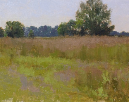 Oil painting of wildlife meadows at Innisfree Farm in Rectorstown, VA