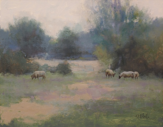 Oil painting of sheep in a field in Wateford VA.