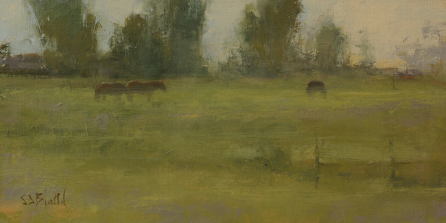 An oil painting of horses in a pasture with diffuse light through a distant treeline.