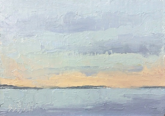 A plein air oil painting of Puget Sound looking north from Ballard.