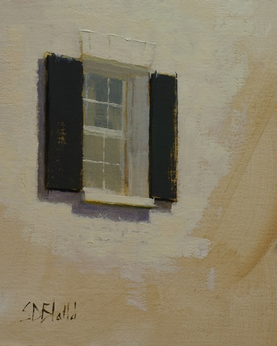 An oil painting of a window at the iconic Rock Spring Farm in Leesburg, VA.