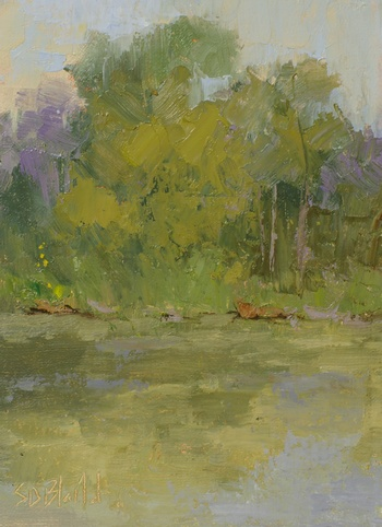A painting of the pond at Rock Spring Farm.