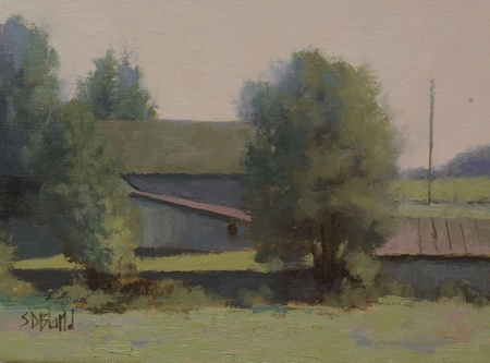 Oil painting of barns on Shelburne Glebe Road in Lincoln, VA