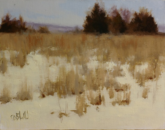 Oil painting of a field at Sierra Lane, Lovettsville, VA looking west towards the mountains.