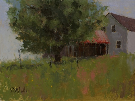 Oil painting of a barn at Talbot Farm in Waterford, VA