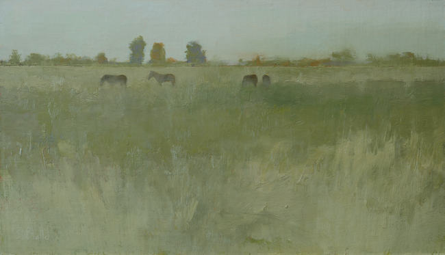 An oil painting of horses in a field with distant treeline.