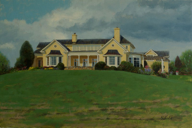 Oil painting of a house on WIllisville Rd in Upperville, VA