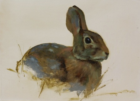 Oil painting of a rabbit