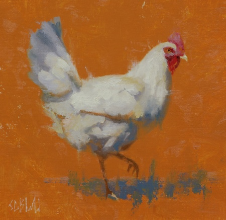 An oil painting of a chicken at George's Mill Farm in Lovettsville, VA.