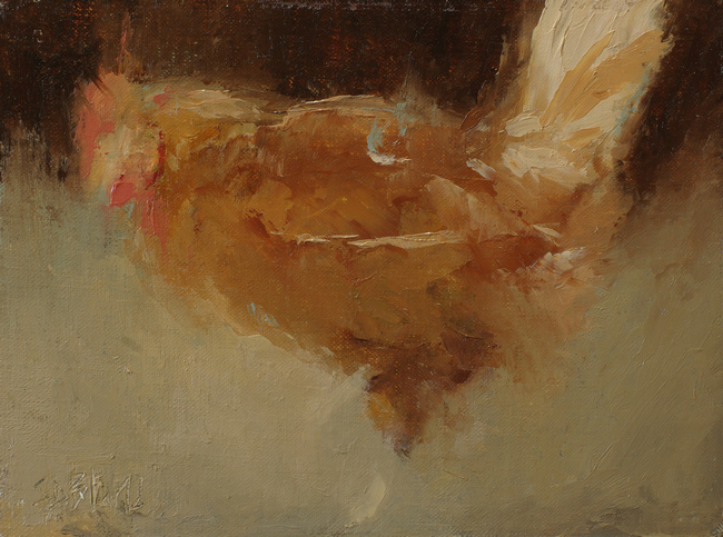 An abstract painting of a rooster by artist Simon Bland