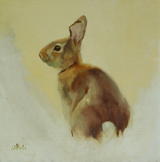 An oil painting of a sitting rabbit as viewed from the side with a partially finished yellow background.