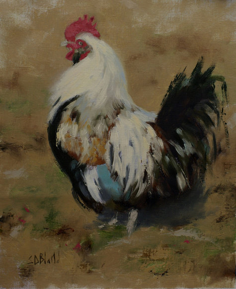 Oil painting of a rooster
