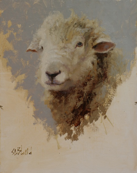 Oil painting of a ram.