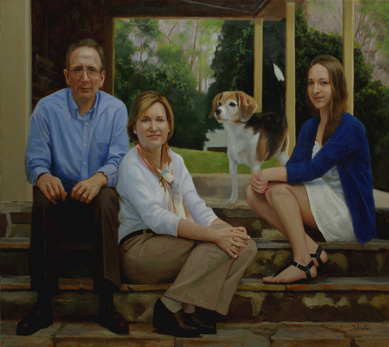 Oil portrait by Simon Bland: The Trebelhorn Family, Centerville, VA