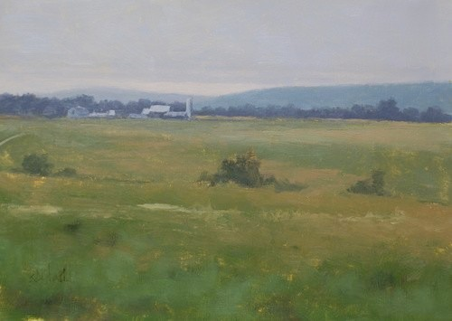 A landscape painting featuring a distant farm with gray sky
