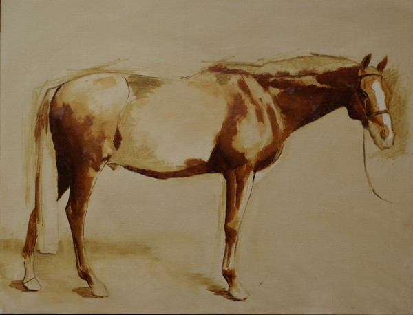 The early stages of painting a conformation portrait of a chestnut horse