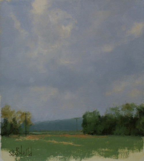 A painting study of clouds over fields