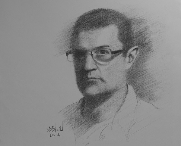 A self portrait in charcoal of artist Simon Bland
