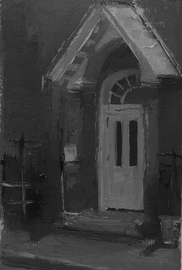 A small sketch of the door of a coffee shop in black and white paint