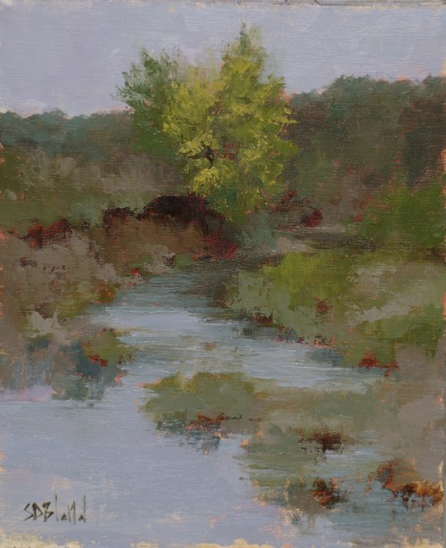 A painting of a creek with dominant yellow bush