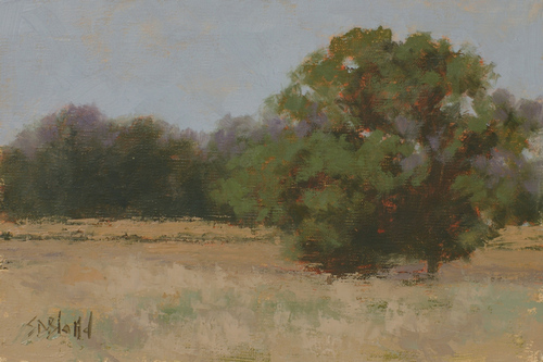This plein air painting features a field of dry hay, trees and minimally painted fence lines
