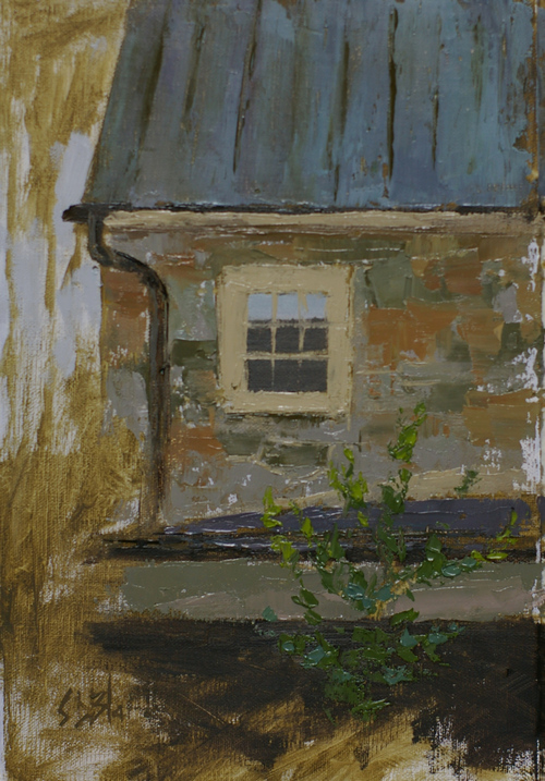 A plein air painting showing part of a stone farm house