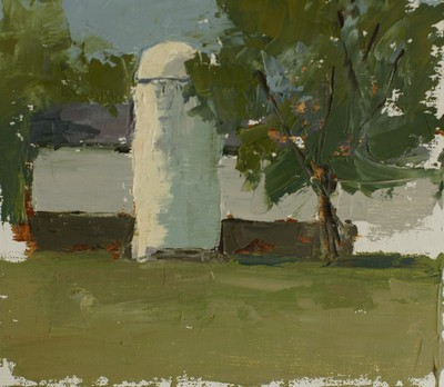 This small plein air painting of a white silo and barn was done mainly with a painting knife.