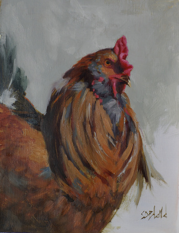 A painting of a rooster in a 3/4 pose with partially unfinished background.