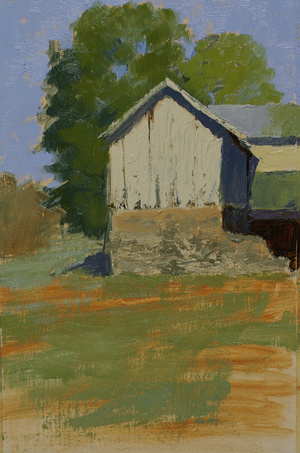 A plein air landscape painting featuring a white barn with a stone foundation set against a backdrop of trees.