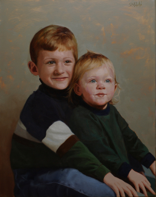 An oil portrait of two children sitting with abstract gray background