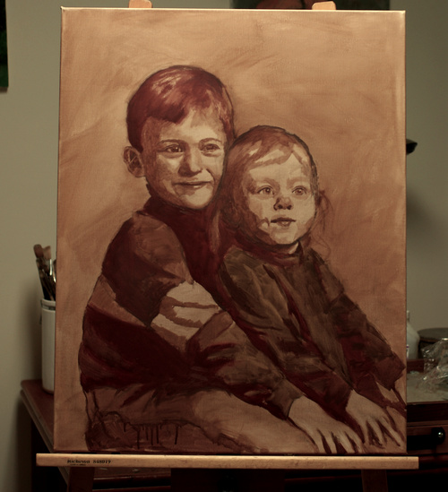 The block in for a portrait of two children