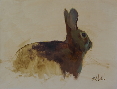 A simple oil painting of a rabbit done with a limited palette and unfinished background.