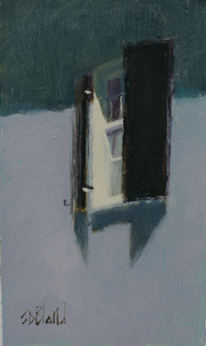 A small painting featuring a window with black shutters on a blue gray wall