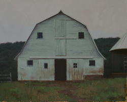 A painting of a white cowshed with open door