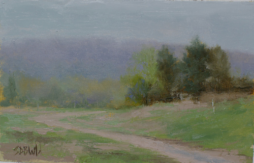 A tonal landscape painting featuring a small stand of trees, a dirt road and distant mountain.