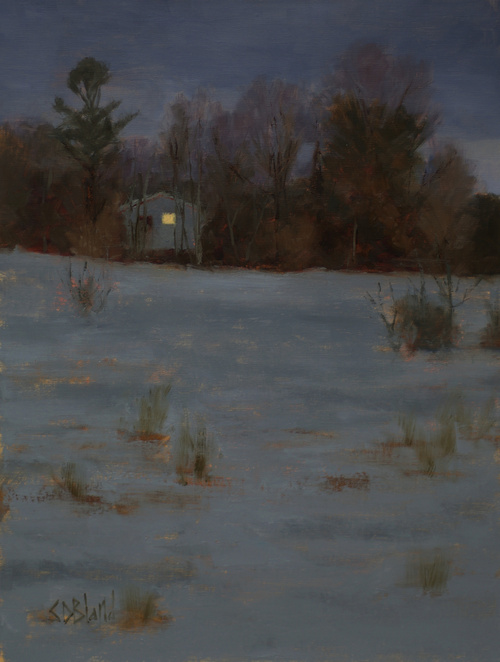 A nocturne painting set in w winter landscape featuring a house with light in the window.