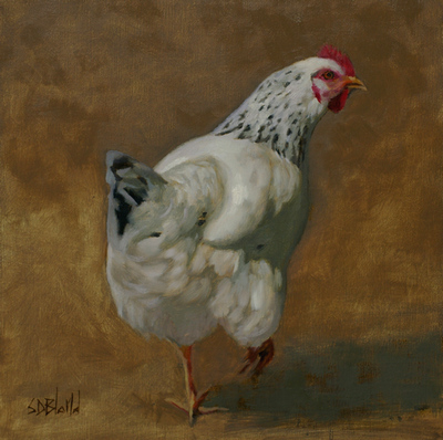 A portrait of a speckled chicken set against an abstract brown gray background