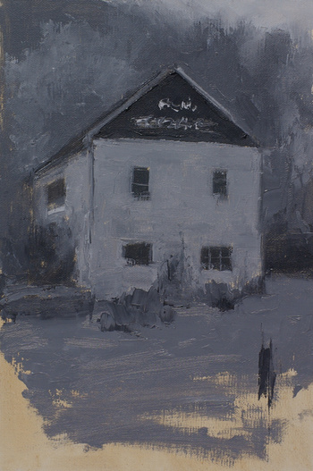 A plein air painting of a barn done with black and white paint.