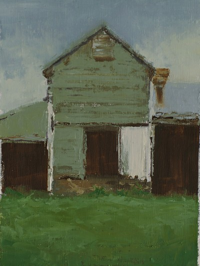 This small plein air painting features gray outbuildings on a farm