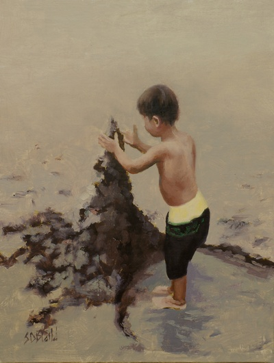 Figurative painting of a child on the beach