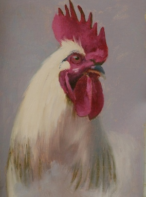 A painting of the head of a white rooster.