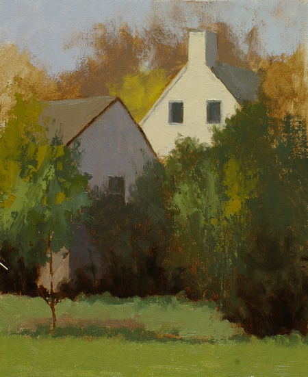 A plein air painting of white houses and trees.