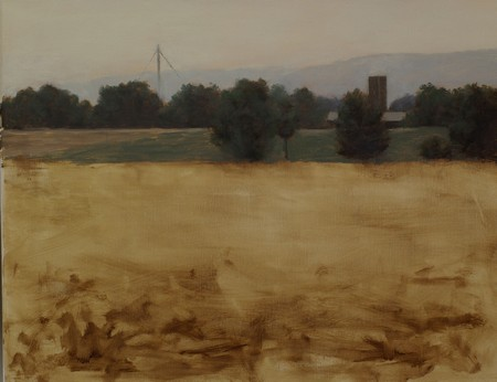 A partially painted landscape painting