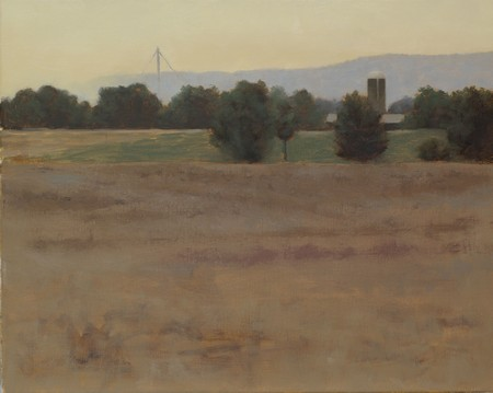 A partially painted landscape painting.