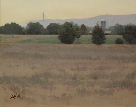 A completed landscape painting featuring a grain elevator, silo and the blue ridge mountains. The sky is yellow and there is a plowed field in the foreground.