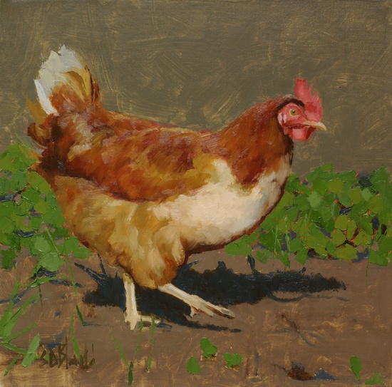 Painting of a chicken with a partially painted landscape background