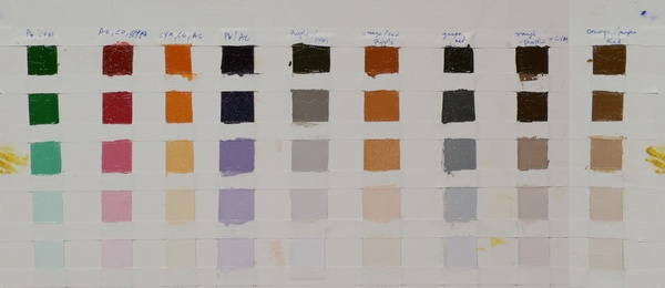 Color chart for a modified Ned Jacob palette - this uses phthalo blue instead of ultramarine