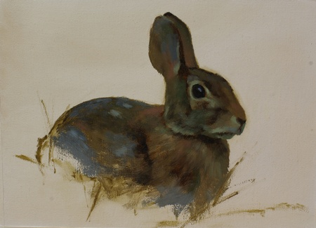 A portrait painting of a rabbit done on toned canvas. The background has been left unpainted.